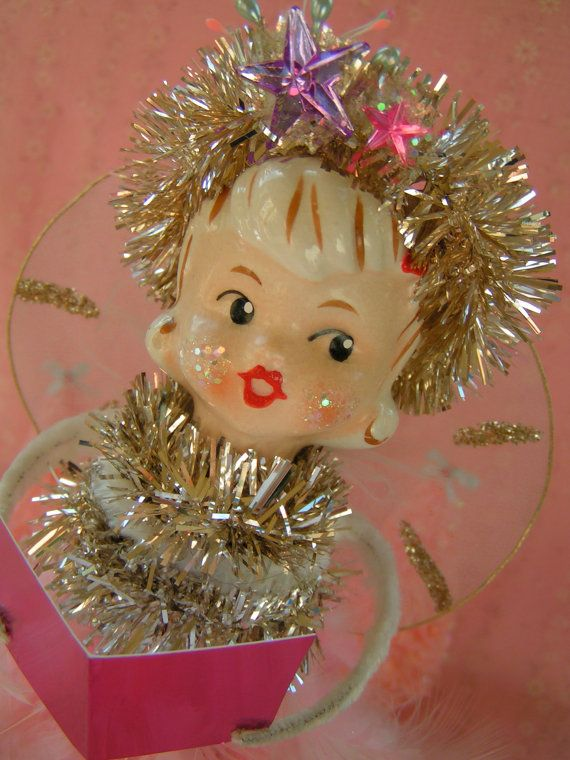 Vintage Pink Christmas Holt Howard Feather by KittyKatDance, $52.00