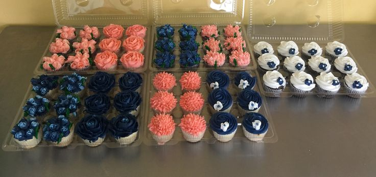 Coral, navy, and white cupcakes!!)