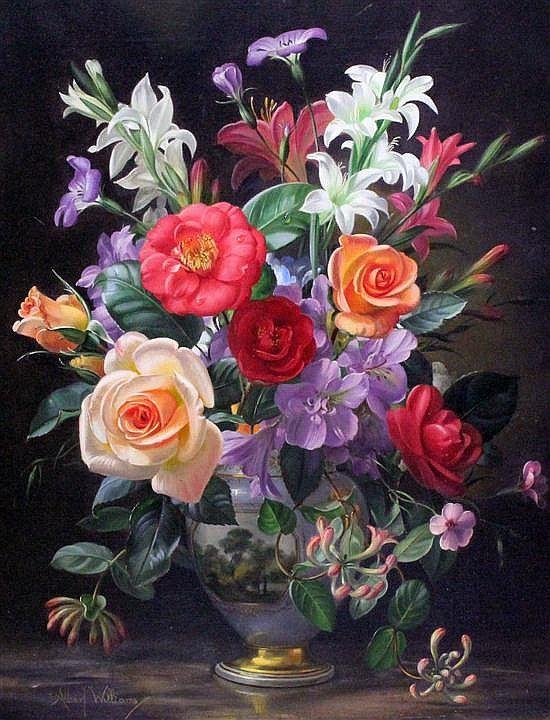 Albert Williams (1922-2010) Summer flowers in a Paris porcelain vase, 20 x 16in.