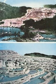 #travel #newzealand #historical #rotorua #nature The Pink & White Terraces at Lake Rotomahana, near Rotorua. New Zealand. When Mt. Tarawera erupted on June 10th 1886, the terraces were destroyed. Recently scientists have found some of it remaining under Lake Rotomahana. http://en.wikipedia.org/wiki/Pink_and_White_Terraces