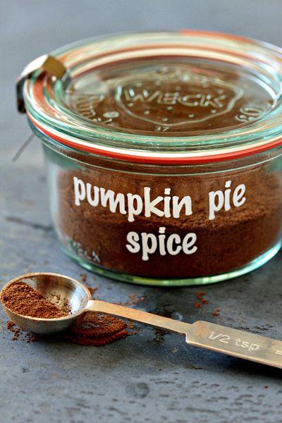 Homemade Pumpkin Pie Spice 3 tablespoons ground cinnamon 2 teaspoons ground ginger 2 teaspoons nutmeg 1 ½ teaspoons ground allspice 1 ½ teaspoons ground cloves