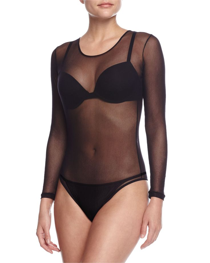 "Cosabella ""Soire"" sheer tulle bodysuit. Round neckline. Long sleeves with banded cuffs. Seamed sides. Fitted silhouette. Nylon. Made in Italy."