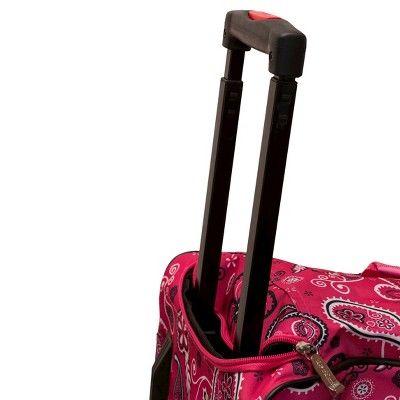 Rockland 22 Rolling Duffel Bag - Pink Bandana