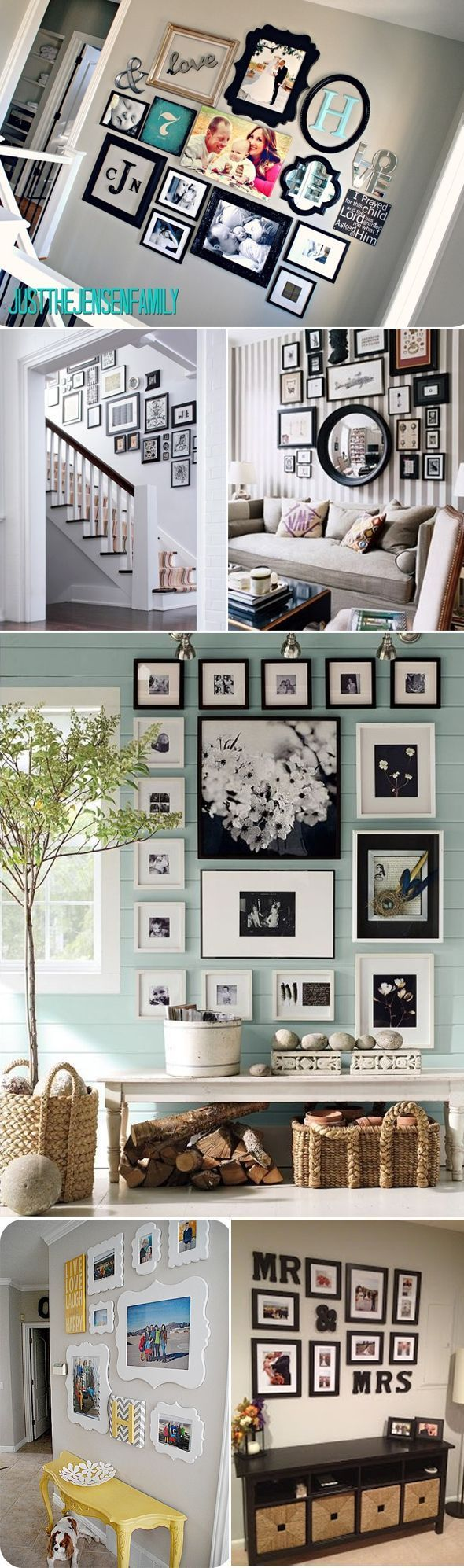 I love the idea of a family picture wall.. Not sure where this would work in our house though.. Maybe over the stairs or down the hallway..
