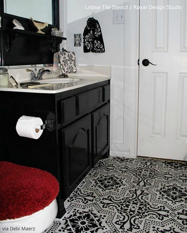 paint vinyl u0026 linoleum with floor stencils 8 diy decor ideas bathroom floor tilestile