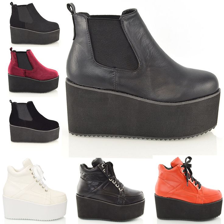 Womens Chunky High Platform Wedge Heel Lace Up Chelsea Punk Ladies Ankle Boots