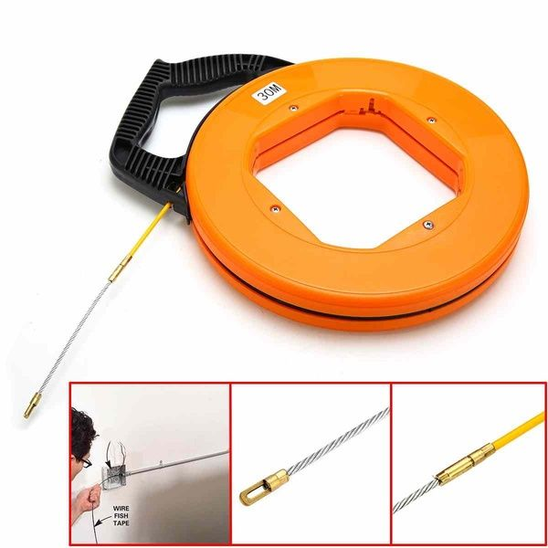 1x 30M Fiberglass Fish Tape Reel Puller Conduit Duct Rodder Pulling