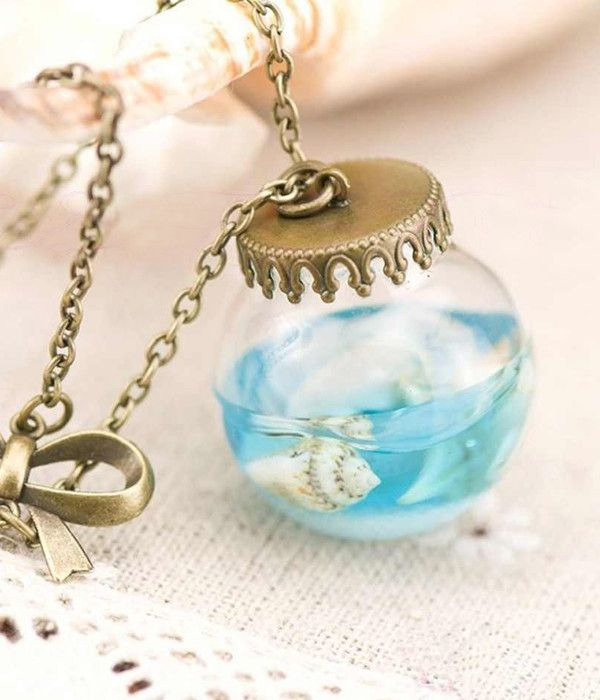 Sea Life inspired Mermaid Tears Necklace. 1 x 1 inches length 22 inches extend