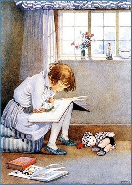 Young Girl And Her Huge Book. Honor C. Appleton (1879 – 1951, English) re-pinned by: http://sunnydaypublishing.com/