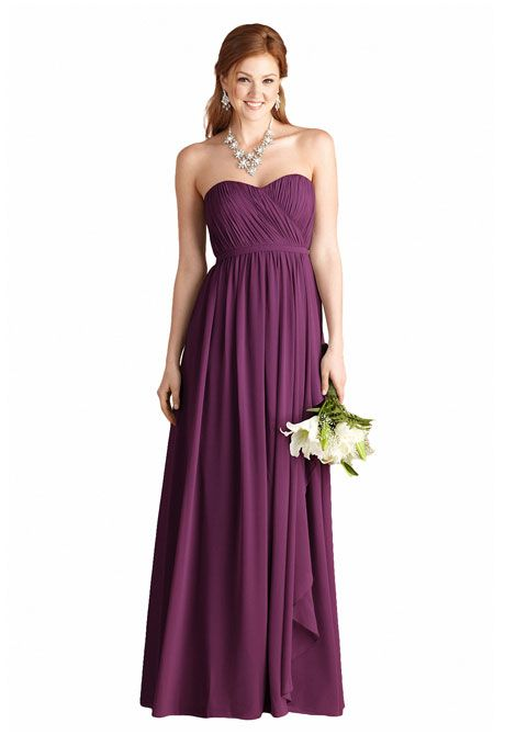 "Brides.com: . ""Lily"" chiffon bridesmaid dress in grape, $230, Donna Morgan Collection available at Weddington Way  See more Donna Morgan Collection bridesmaid dresses."