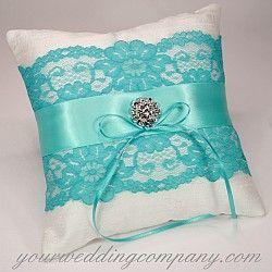 Dupioni Silk & Lace Ring Pillow in Aqua / Tiffany Blue with a Swarovski crystal center - http://www.yourweddingcompany.com