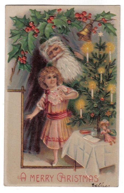 Santa Claus in Green Robe Standing w/ Girl Looking at Tree~Christmas~1908 #Christmas