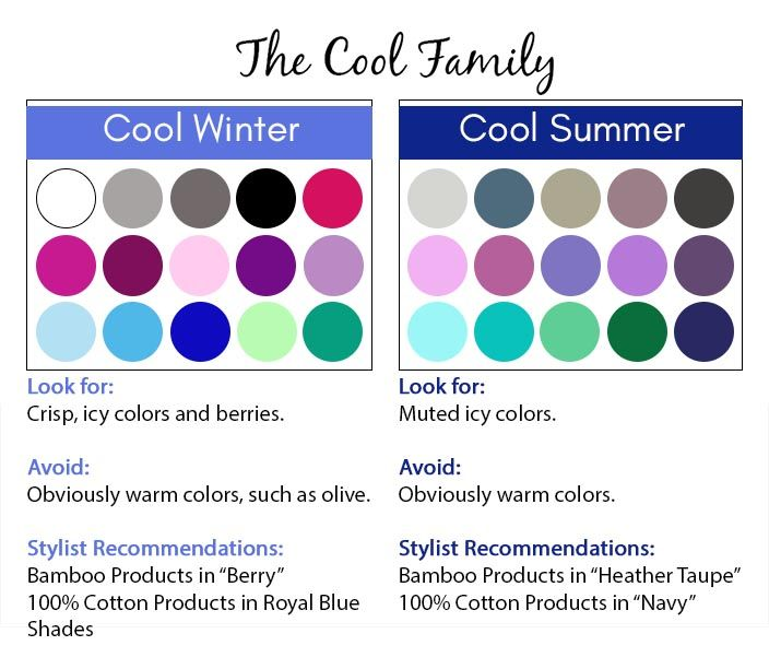 Cool color season palette - cool winter and cool summer