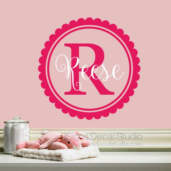 girls monogram decal scalloped nursery wall decal custom girls name decal