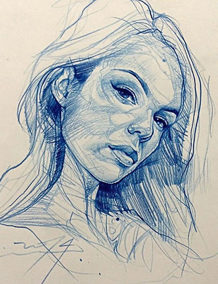 Alvin Chong {contemporary figurative art female head woman face portrait sketch drawing #loveart} artofalvin.com