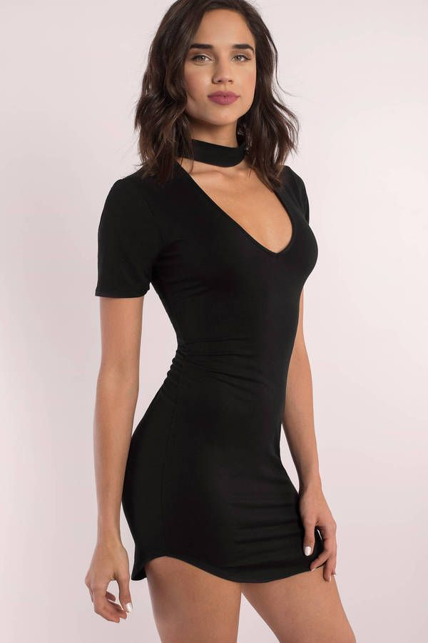 ... Black Choker Bodycon Dress