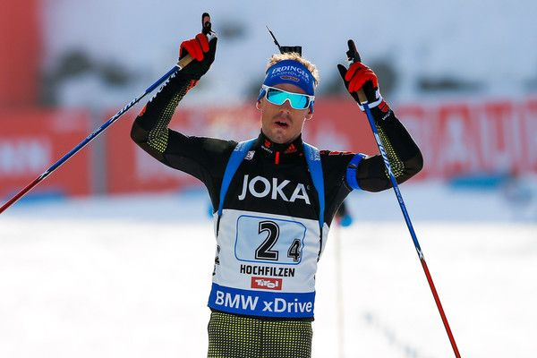 Simon Schempp of Germany wins the gold medal during the IBU Biathlon World Championships Mixed Relay on February 9, 2017 in Hochfilzen, Austria.