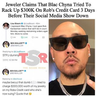 Ben Baller Blac Chyna - Arrested?  Ben Baller claims that Blac Chyna tried to use Rob Kardashian's credit card a few days before the former couple's social media beef. Ben Balleris a jeweler DJ and producer who has worked with some of the most popular artists in the world including Jay Z and Dr. Dre. Ben called out Chyna's lawyer Lisa Bloom on Twitter.  Bloom has her own talk show on Court TV and has appeared on MSNBC ABC and CNN. She tweeted about seeking a restraining order against Rob and…