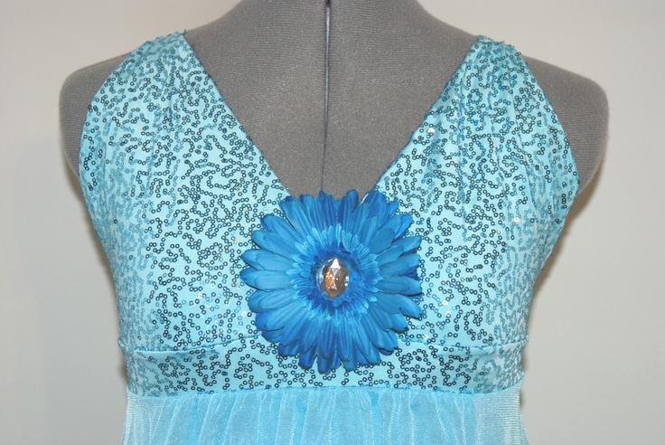 www.glitzagain.com    Dance Costumes, Rhinestones, Glitz, Group, Kid, Child, Flower, Blue, Lyrical, Dancer, Dancing