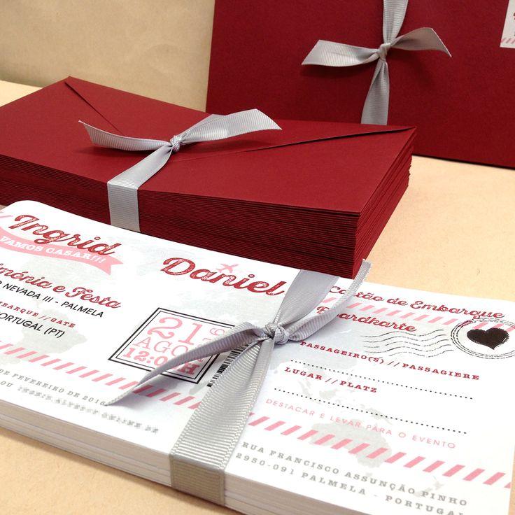 Convites casamento bilhetes de avião para a Ingrid e Daniel.  Boarding pass wedding invitations for Ingrid and Daniel.  #beapaper #convitescasamento #convitesbilhete #bilheteavião #boardingpass #weddinginvitation #weddingboardingpass #convitebilheteaviao