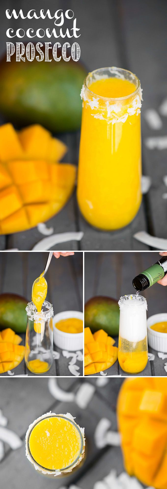 Add bubbles to your summer tropical cocktail! This Mango Coconut Prosecco combines the flavors of fresh mango and coconut with Italian sparkling wine.