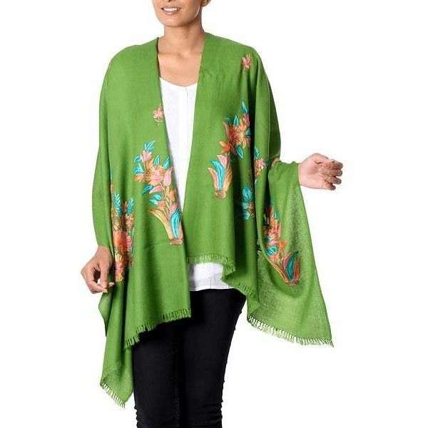 NOVICA Floral Embroidery Kashmiri Style Green Wool Shawl from India ($40) ❤ liked on Polyvore featuring accessories, scarves, clothing & accessories, green, shawls, green scarves, shawl scarves, wool shawl, novica and wool scarves