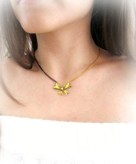 Delicate gold bow charm necklace black and by MalinaCapricciosa, $12.00