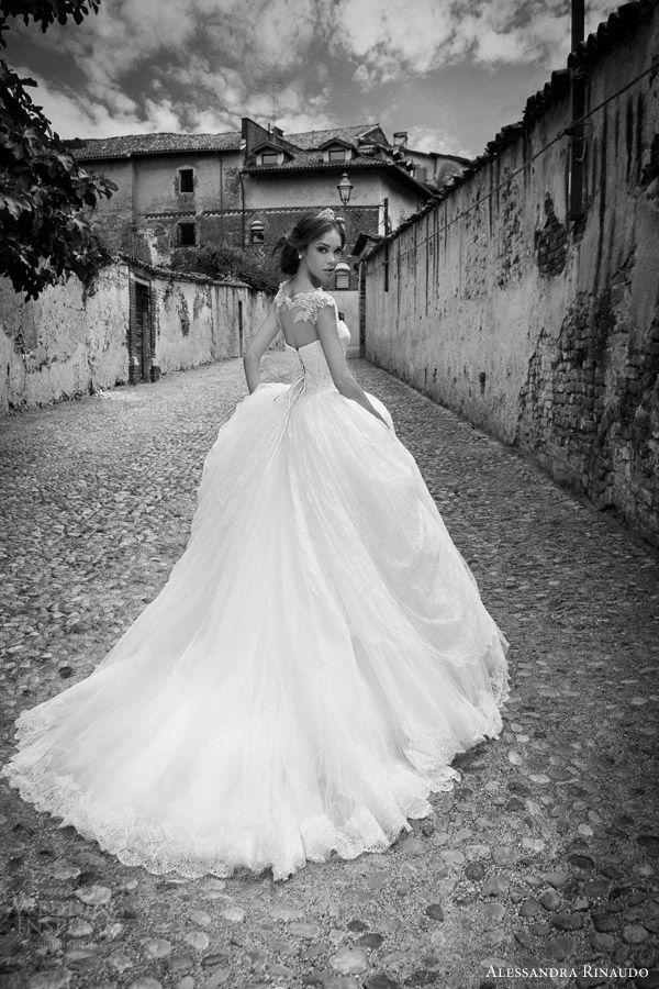 alessandra rinaudo bridal 2015 sherly princess ball gown wedding dress cap sleeve bodice illusion back view train