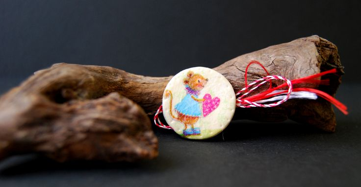 cute mouse decoupage brooch, martisor soricel