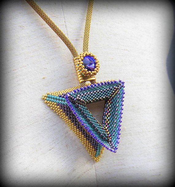 Triangle Teal Beaded Necklace-Let's Have Tea!-Vintage Mesh Chain-Purple Rivoli With Beaded Bezel-Geometric Three Sided-Three Layers-OOAK