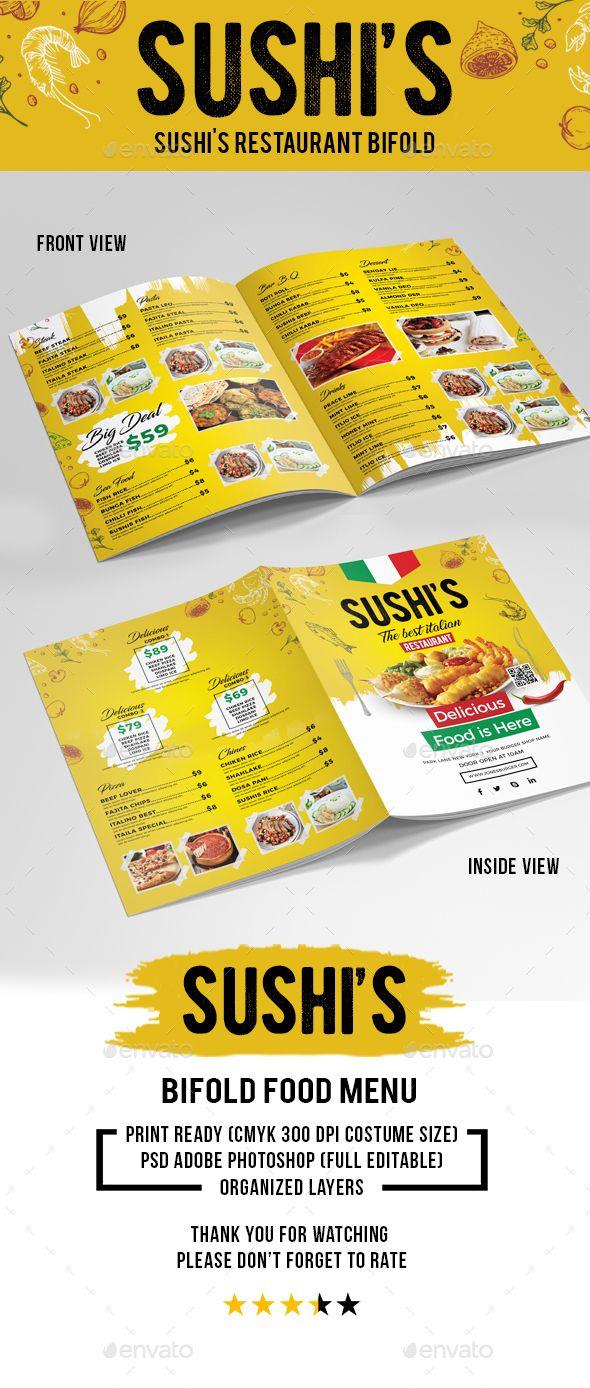 sushi s italian restaurant bifold volume 3 food menus print