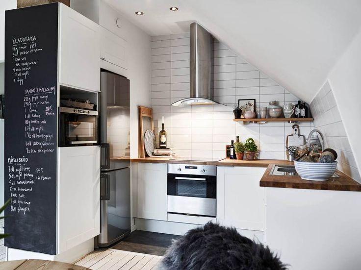 Aménagement petite cuisine ouverte. http://www.m-habitat.fr/penser-sa-cuisine/implantation-cuisine/la-cuisine-ouverte-812_A