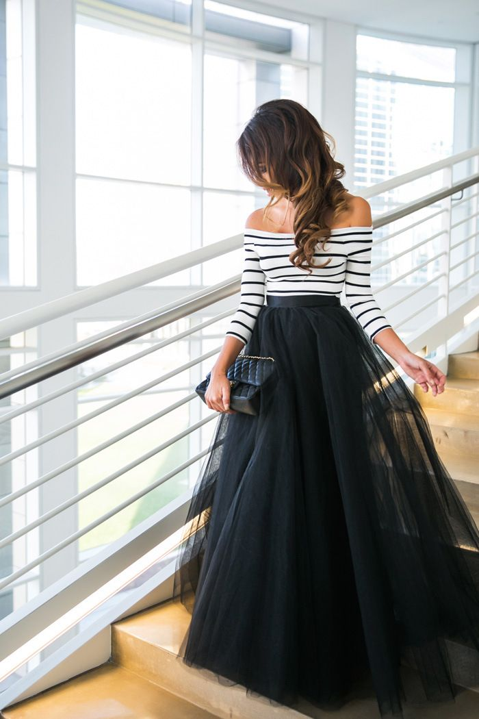 Sexy dew shoulder stripe dress