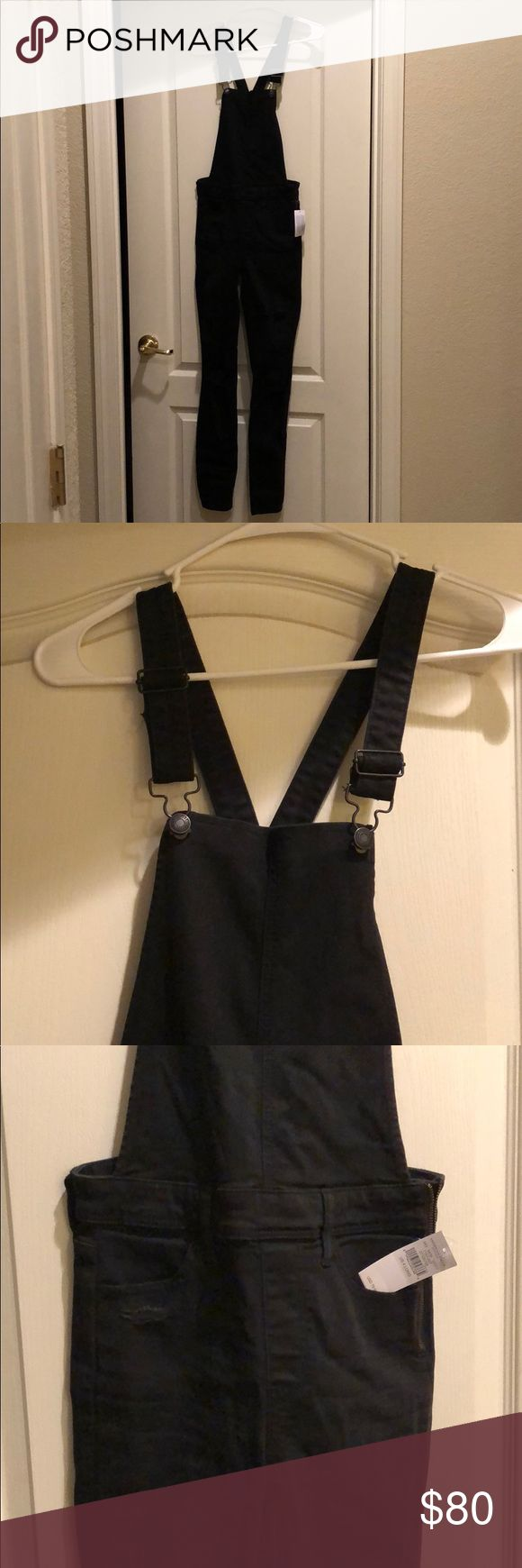 American Eagle Denim X Jegging Overall American Eagle Denim X Jegging Overall in Black with cute rips in the legs. NWT. Size 4 Long. Super cute and stretchy, wish they fit me! American Eagle Outfitters Pants