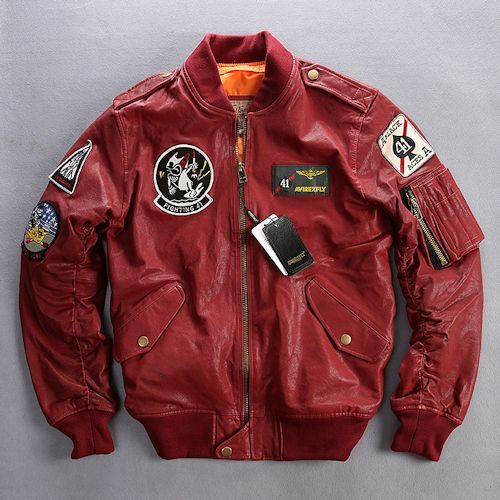 Men Red Goatskin Leather Military Air Force Style Bomber Jackets SKU-116090