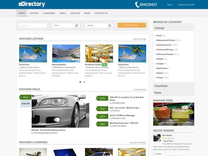 eDirectory base on Bootstrap framework Pages Listing Classifieds Details Listing products Uses Bootstrap v2.1.1 Written…