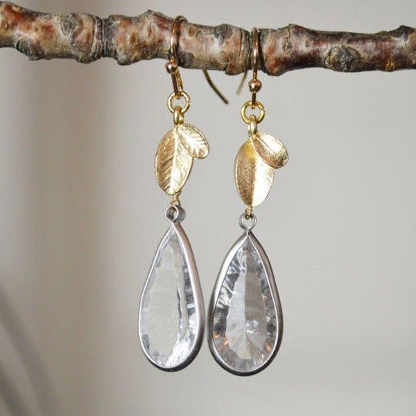 Beautiful Bezel Set Crystal Drop Earrings
