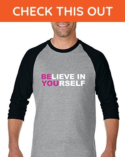 Ugo Believe in Yourself Christmas Birthday Party Cancer Survivor Gym Unisex Raglan Sleeve Baseball T-Shirt - Holiday and seasonal shirts (*Amazon Partner-Link)