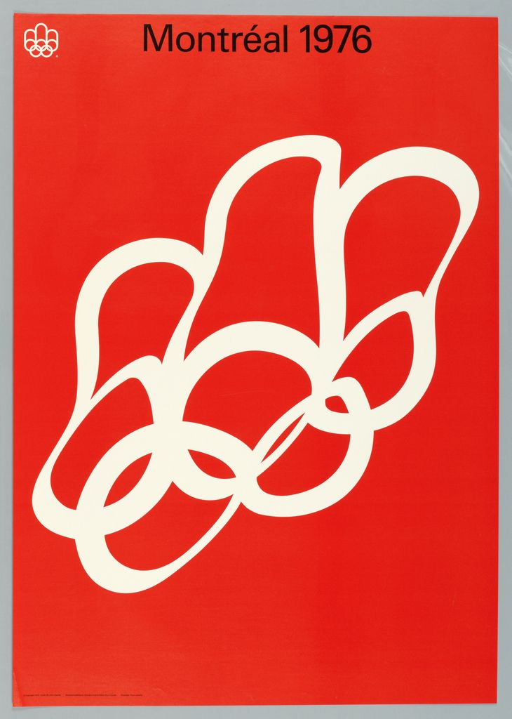 The five rings of the Olympic symbol are printed in white against a solid red background. They are shown as if reflected on water.  Montréal 1976  in black upper center.