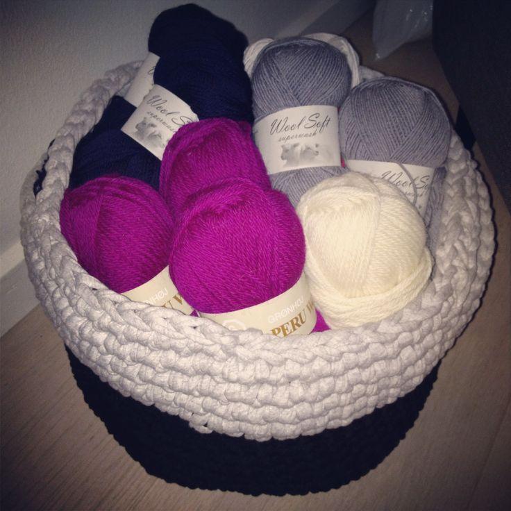 Crocheted basket.