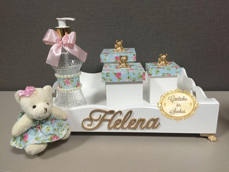 Kit higiene em mdf para quarto de bebê