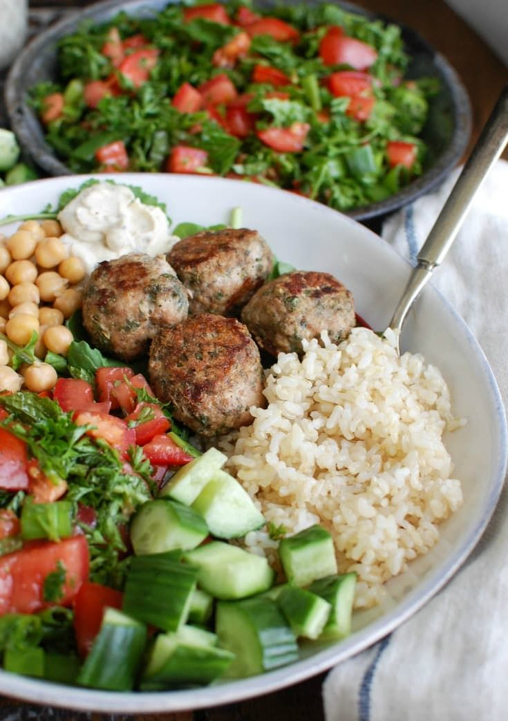 #ad Mediterranean Baked Turkey Meatballs are turkey meatballs mixed with the warm, rich spices of cumin, cinnamon, allspice and cayenne pepper. These meatballs are lean and baked to create a healthy meal option. Pair these with fresh Mediterranean ingredients to create a rice bowl for dinner! // A Cedar Spoon #TurkeyLovers
