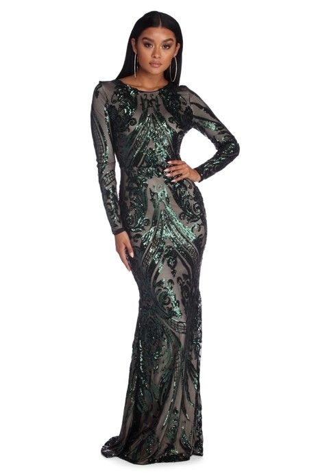 67bd6117961b8 Alexandria Formal Sequin Scroll Dress in 2019 | Products | Dresses ...