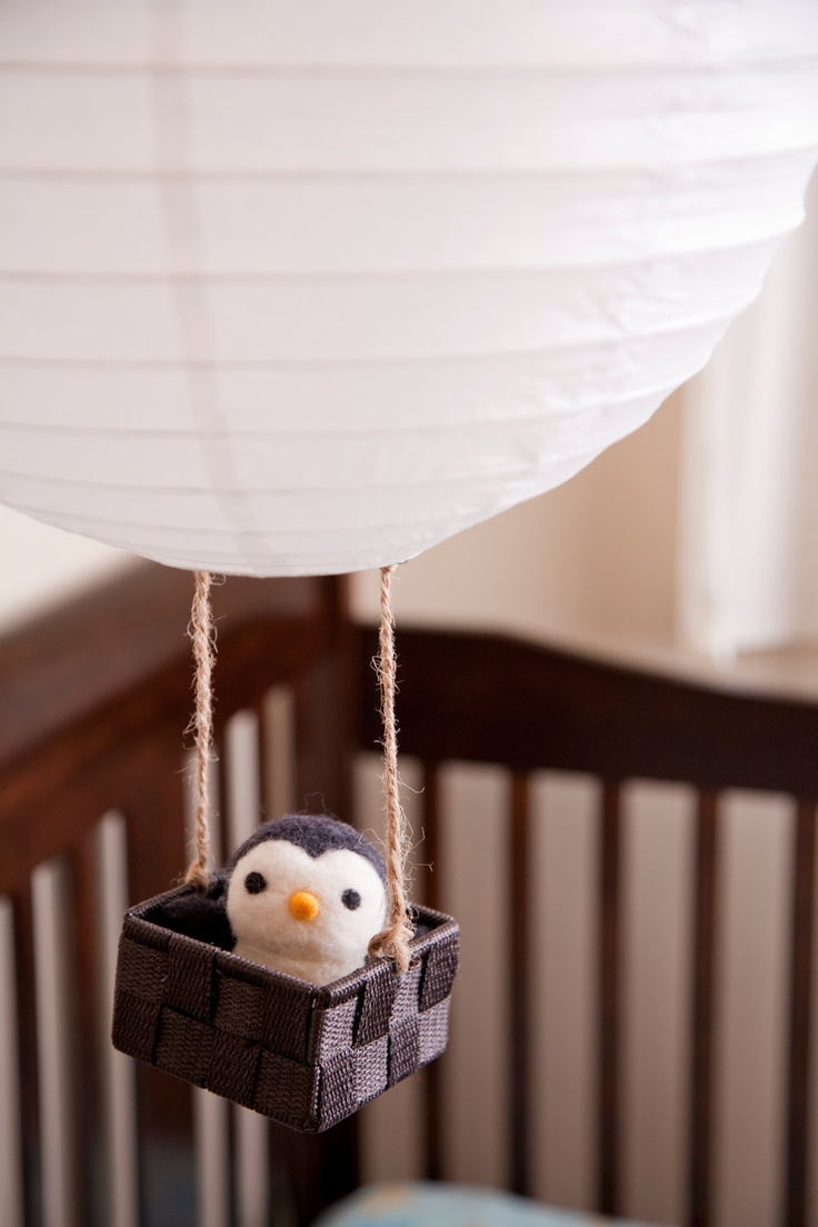 Hand Needle Felted Baby Mobile / Nursery Decor - Penguin Marshmallow Air Balloon. $45.00, via Etsy.