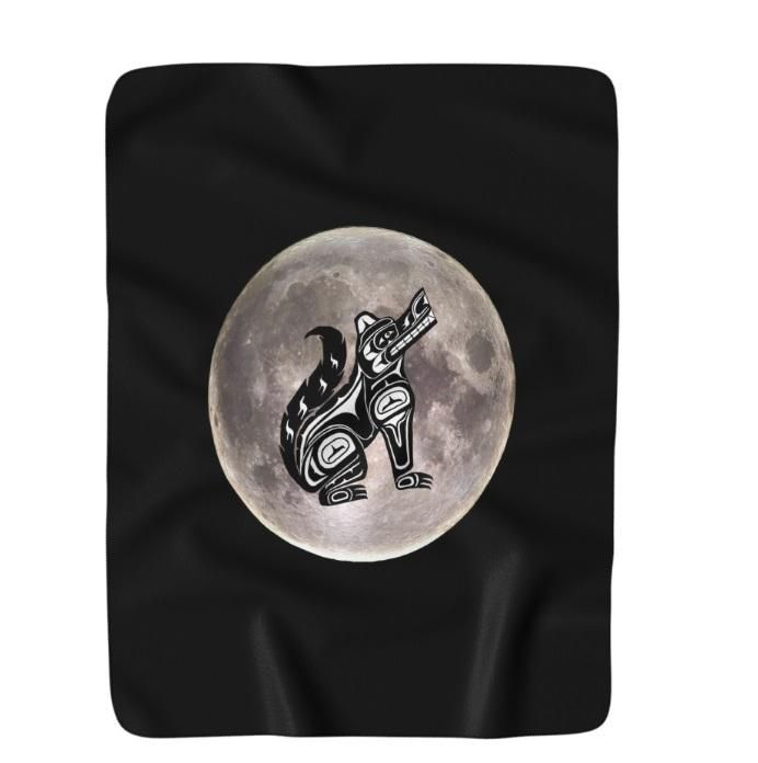 """Moon Wolf"" Sherpa Fleece Blanket - Original Art & Photography"