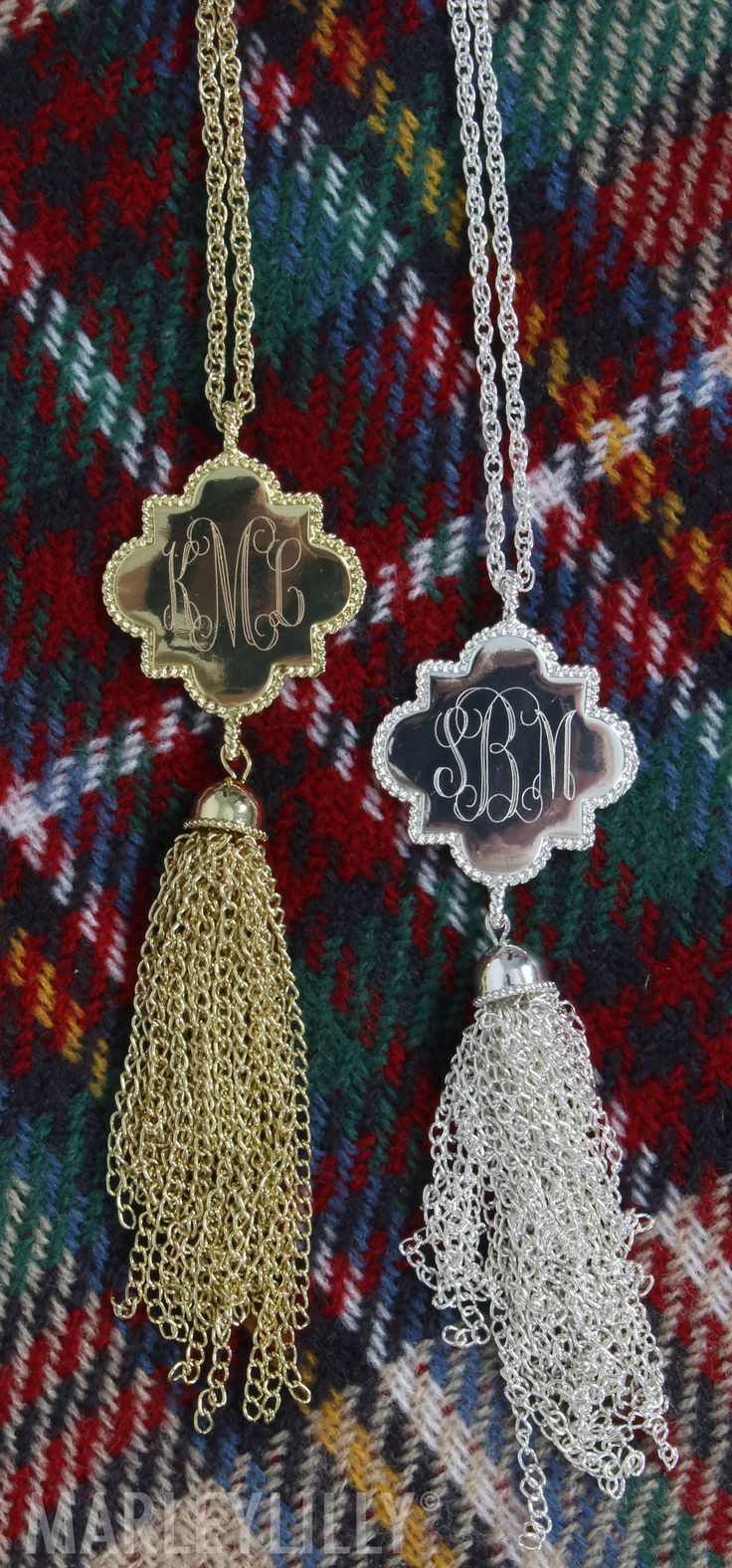 Quatrefoil Gold & Silver Monogrammed Necklaces! MUST HAVEEEEE!