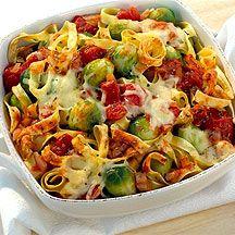 Ovenschotel met spruitjes en pasta