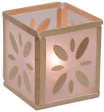 Popsicle Stick Lantern - We adapted this idea and stenciled Hawaiian Luau themed pictures on the sides for our Blue and Gold event.: Candle Holders, Stick Lantern, Candle Lanterns, Kids Crafts, Popsicle Stick Crafts, Craft Ideas, Wax Paper Lantern, Popsicle Sticks, Craft Stick