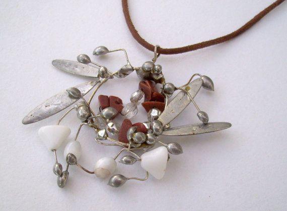Silver Wreath Stone Pendant. Abstract by JirjiMirjiOneofaKind, €65.00