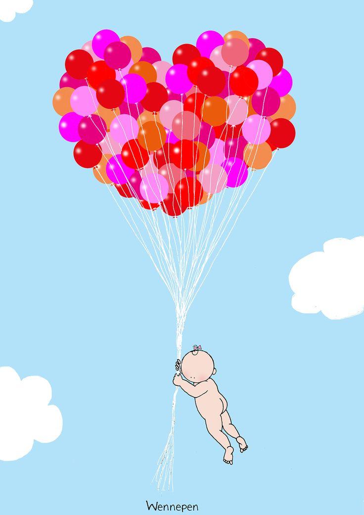 baby aan ballonnen wennepen